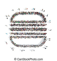 people in the shape of hamburger. - A large group of people...