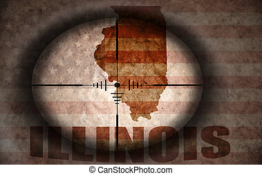 sniper scope aimed at the vintage american flag and illinois state map