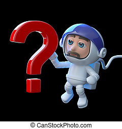 3d Astronaut with a question mark symbol - 3d render of an...