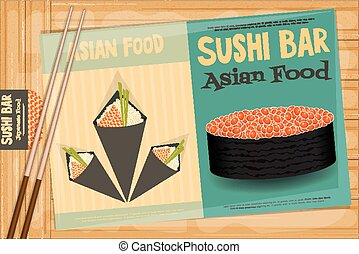 Sushi Poster on Wooden Background. Two Retro Sushi Menu with...