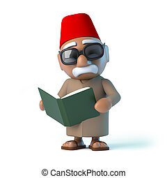 3D, marocain, lecture, a, Livre,