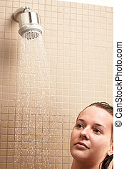 Woman in shower - Young caucasian adult woman in shower