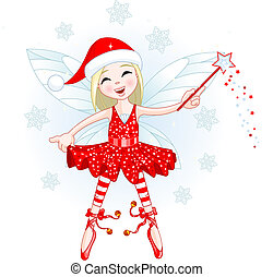 Little Christmas fairy - Cute Christmas fairy flying . All...