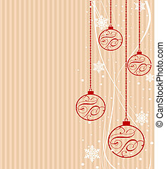 Christmas decorations on stripes - Christmas decorations on...