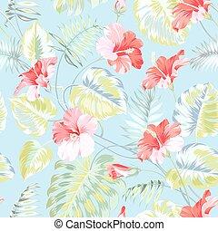 Tropical flower. - Seamless tropical flower. Blossom flowers...