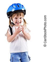 Cute girl in crash helmet