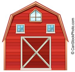 Farming - Red wooden barn on a white background