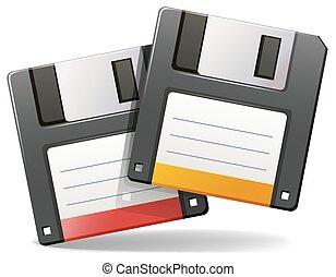 Floppy disc - Two floppy disc on a white background