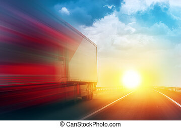 Speeding Transportation Delivery Truck on Open Highway with...
