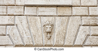 Lion Crest in Stone - An ancient stone wall with a lion...
