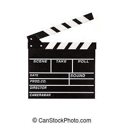película, badajo, en, blanco, Plano de fondo,