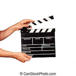 Man with film clapper on white background - Man hands...