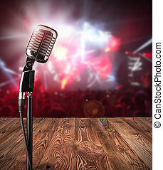 Retro microphone on music concert - Retro microphone ready...