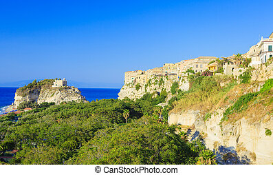 Tropea with its cathedral - Panoramic view on Tropea city...