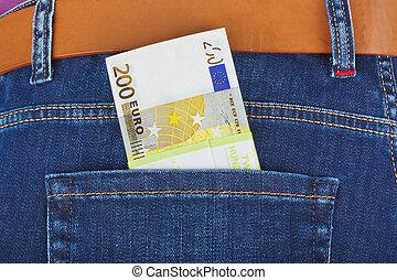 tasca, soldi,  jeans