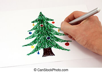 Drawing a Christmas tree markers on paper