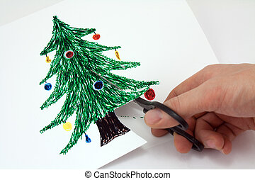 cut paper a Christmas tree - Cut with scissors Christmas...