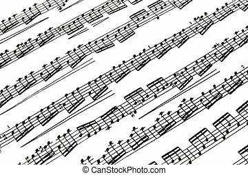 Music notes on paper - Music notes on the vintage peace of...