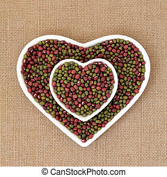 Mung and Aduki Beans - Mung and aduki beans in a heart...