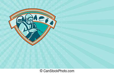 Business card Pest Control Exterminator Worker Shield