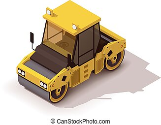Vector isometric road roller - Isometric icon representing...