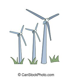 colored doodle windmill, excellent vector illustration, EPS...