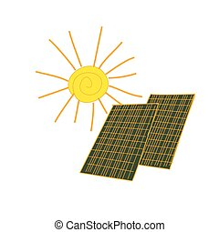 colored doodle solar panels, excellent vector illustration,...