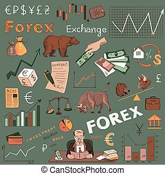 Colored finance forex hand drawing, excellent vector...