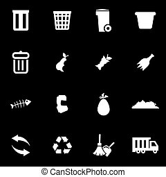 Vector white garbage icon set on black background