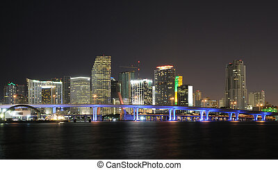 Downtown Miami Skyline at Night Florida, USA