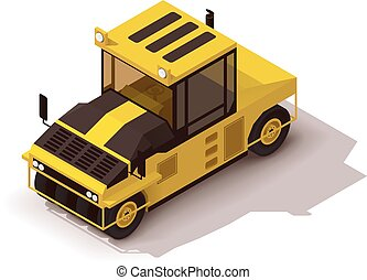 Vector isometric pneumatic road roller - Isometric icon...