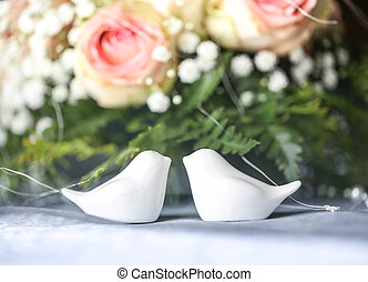table at a wedding reception - Ornaments on a table at a...