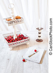 Cherries And Cookies On Cake Stand - Cake stand with...