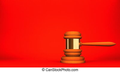 Wooden Judge Gavel On Red White Text Space