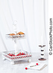 Cake Stand With Cherries And Cookies - Cake stand with ripe...