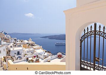 Village of Fira - View of the village of Fira on Santorni,...