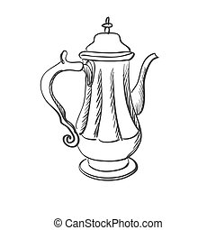 doodle coffee pot, excellent vector illustration, EPS 10