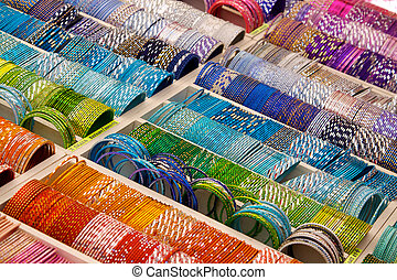 Colourful bangles on a market stall