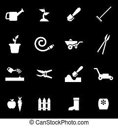 Vector white gardening icon set