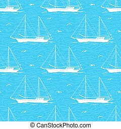 Seamless background, sailboats and waves - Seamless Pattern,...