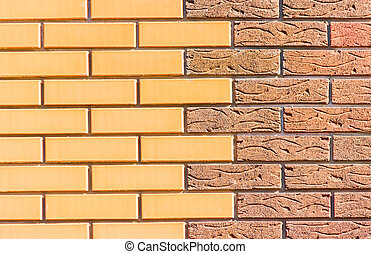 Red brick wall - Fragment of the wall, built of two...