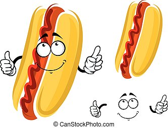 Cartoon hot dog character with ketchup and whole wheat bun...