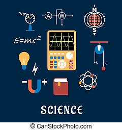 Science physics flat icons set - Science flat icons set with...