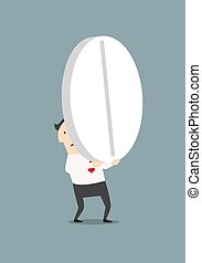 Businessman carrying a big pill - Cartoon exhausted...