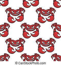 Cartoon angry red crabs seamless pattern