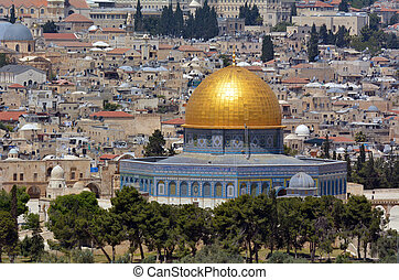 Temple Mount in Jerusalem - Israel - Aerial view the Dome of...