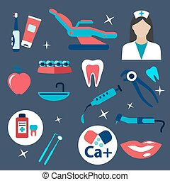 Dentistry and hygiene flat icons - Dentistry flat icons with...