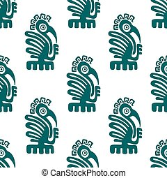 Ancient native american indian birds seamless pattern