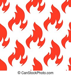 Red spurts of fire flames seamless pattern
