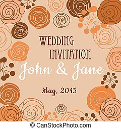 Wedding invitation template with floral border - Wedding...